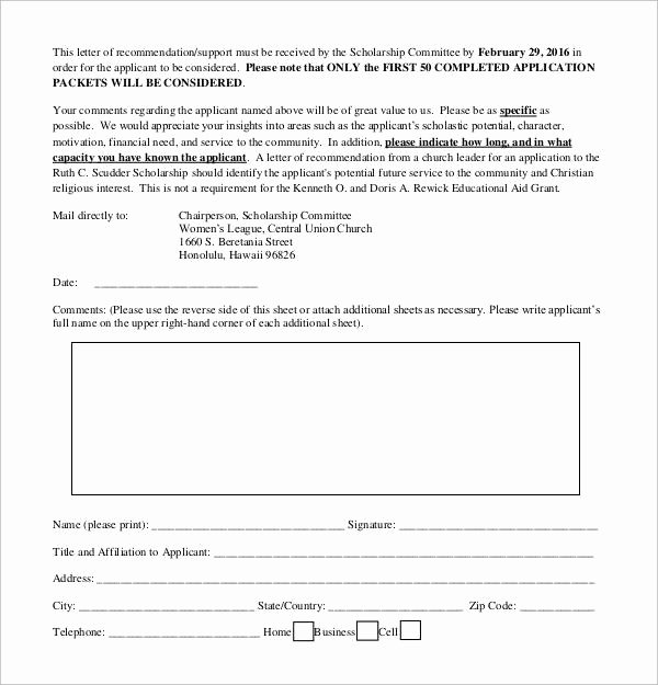 Scholarship Letters Of Recommendation Template Unique Free 32 Sample Letters Of Re Mendation for Scholarship