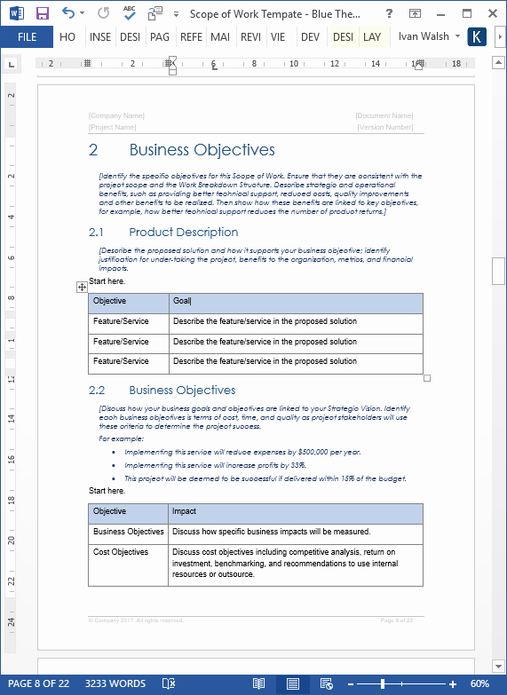 Scope Of Work Templates Fresh Scope Of Work Template – Download Ms Word & Excel
