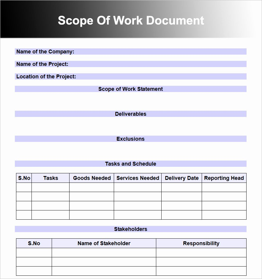 Scope Of Work Templates Inspirational Scope Work Templates