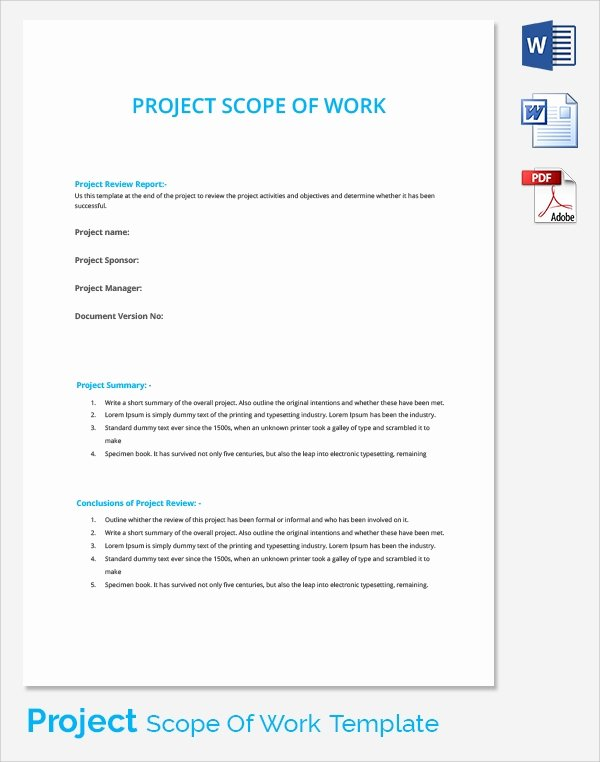 Scope Of Work Templates New Free 21 Sample Scope Of Work Templates In Pdf Word