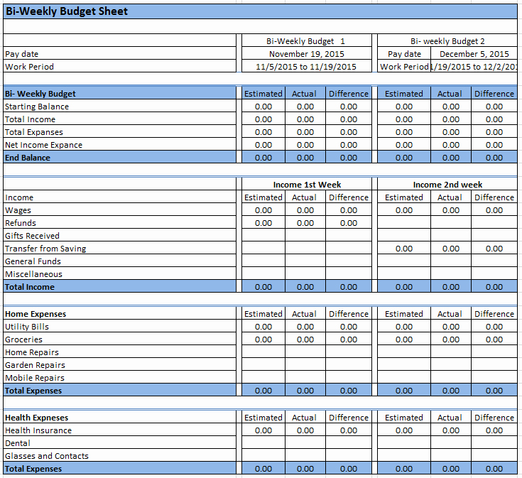 Semi Monthly Budget Template Awesome 23 Free Bi Weekly Bud Templates Ms Fice Documents