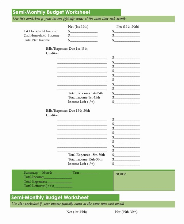Semi Monthly Budget Template Best Of Printable Monthly Bud Template 21 Free Excel Pdf