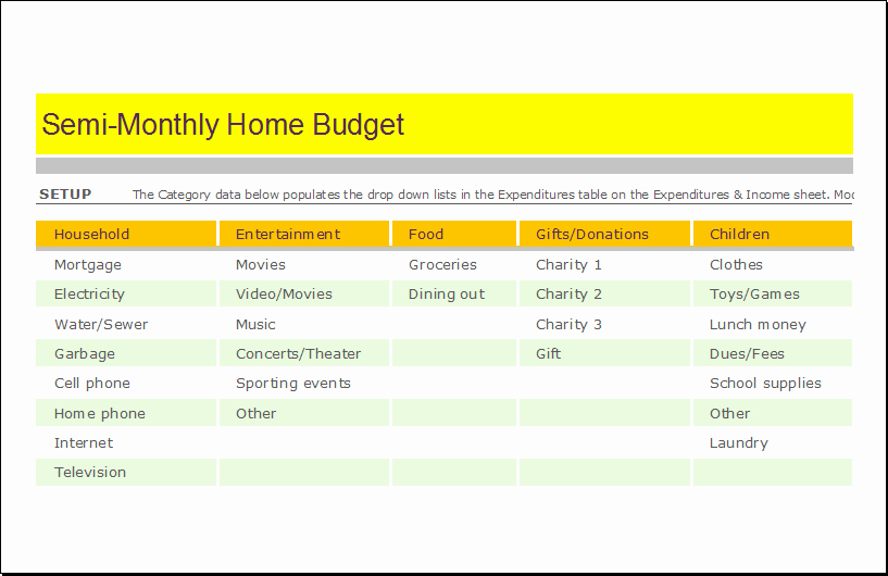 Semi Monthly Budget Template Fresh Semi Monthly Home Bud Sheet for Excel