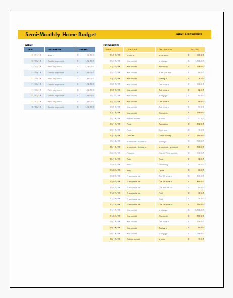 Semi Monthly Budget Template Fresh Semi Monthly Home Bud Template Excel format