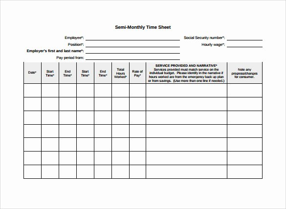 Semi Monthly Budget Template New Free 23 Sample Monthly Timesheet Templates In Google Docs