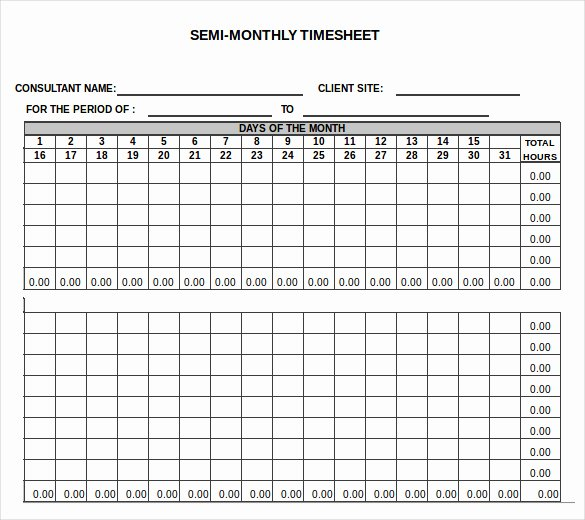 Semi Monthly Timesheet Template Excel Awesome Free Printable Monthly Time Sheets Monthly Timesheet
