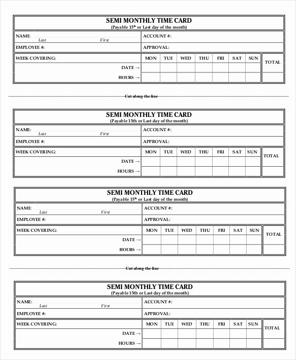 Semi Monthly Timesheet Template Excel Best Of Printable Time Card Template 12 Free Word Excel Pdf