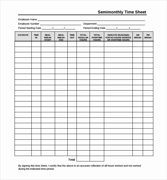 Semi Monthly Timesheet Template Excel Elegant Free 14 Sample Monthly Timesheet In Google Docs