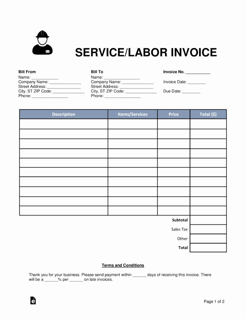 Service Invoice Template Pdf Fresh Free Service Labor Invoice Template Word Pdf