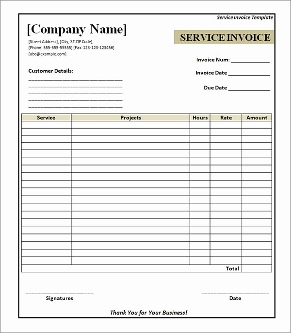 Service Invoice Template Pdf Lovely Free 29 Printable Service Invoice Templates In Google