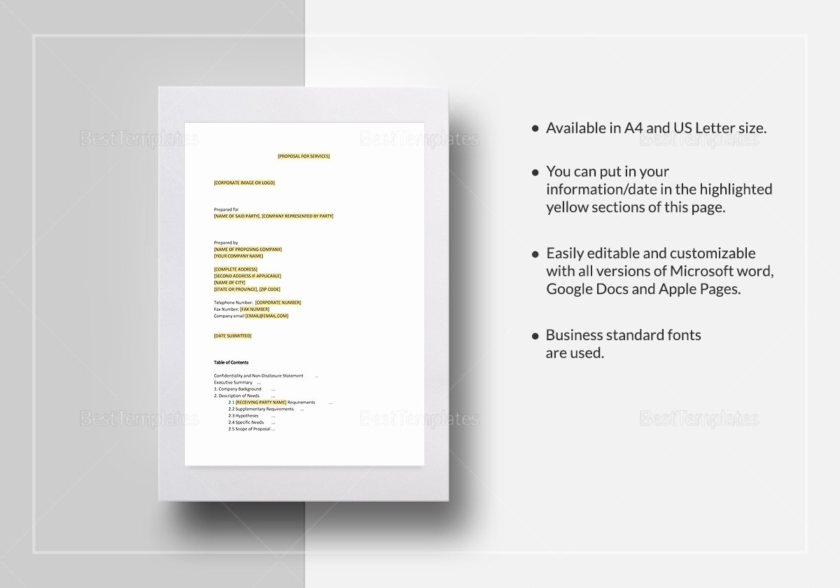 Service Proposal Template Word Awesome Service Proposal Template In Word Google Docs Apple Pages