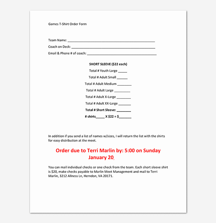 Shirt order form Templates Awesome T Shirt order form Template 17 Word Excel Pdf