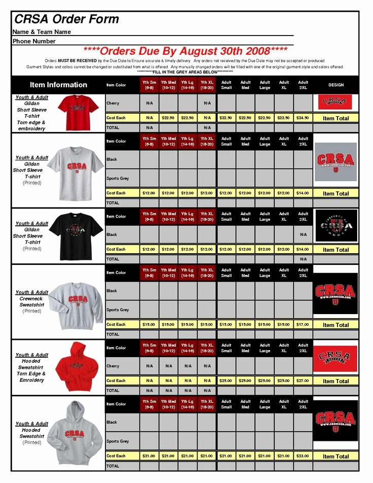 Shirt order form Templates Awesome T Shirt order form Template Excel 1uive8