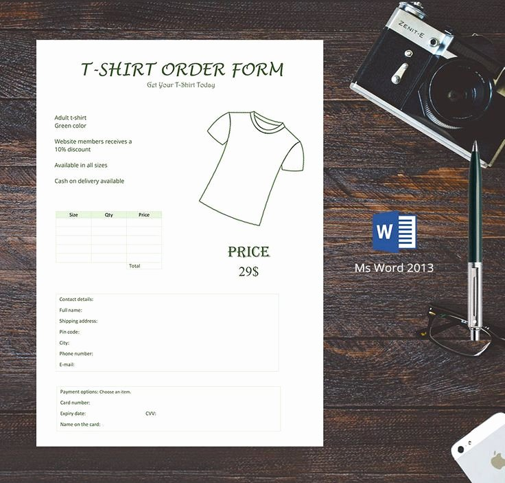 Shirt order form Templates Best Of Free T Shirt order forms