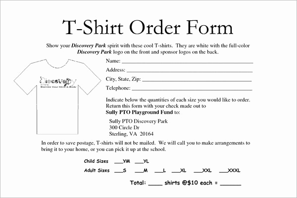 Shirt order form Templates Best Of School T Shirt order form Template