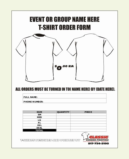 Shirt order form Templates Fresh T Shirt order form Template