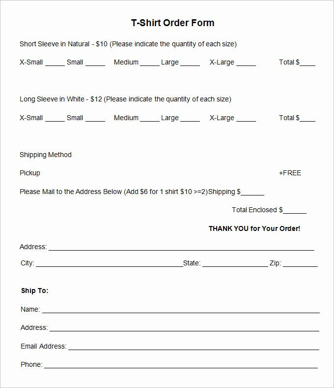 Shirt order form Templates Inspirational T Shirt order form Template 26 Free Word Pdf format