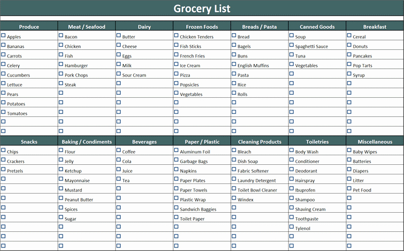 Shopping List Template Excel Fresh 7 Shopping List Templates