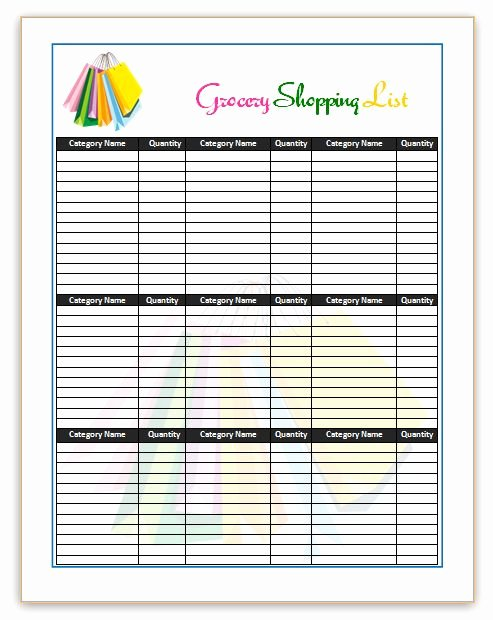 Shopping List Template Excel Luxury Shopping List Templates