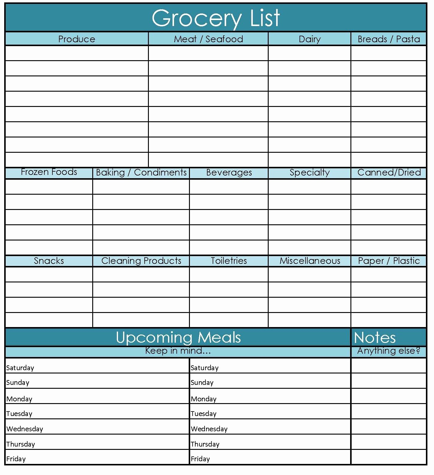 Shopping List Template Excel New Grocery List Sample
