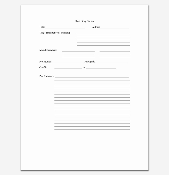 Short Story Template Word Beautiful Short Story Outline Template 7 Worksheets for Word Pdf