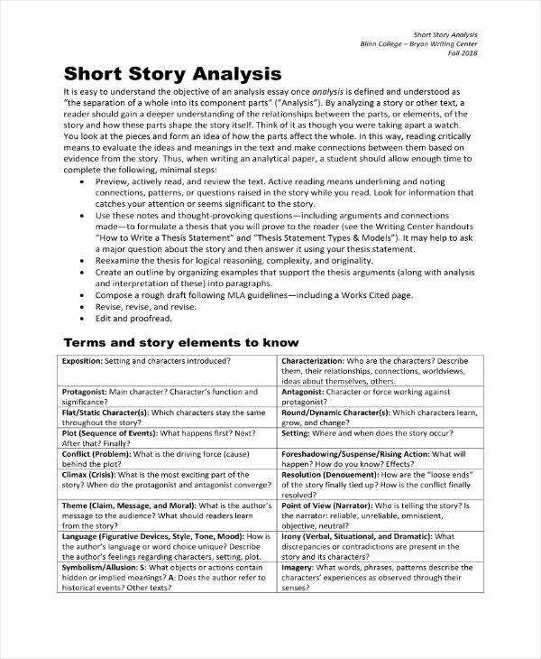 Short Story Template Word Luxury 7 Literary Analysis Templates Pdf Word