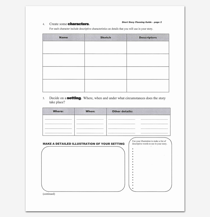 Short Story Template Word Luxury Short Story Outline Template 7 Worksheets for Word Pdf