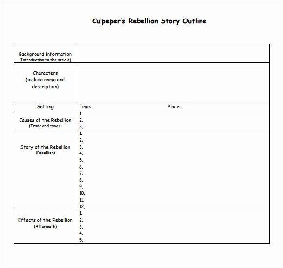 Short Story Template Word Luxury Story Outline Sample 9 Documents In Pdf Word