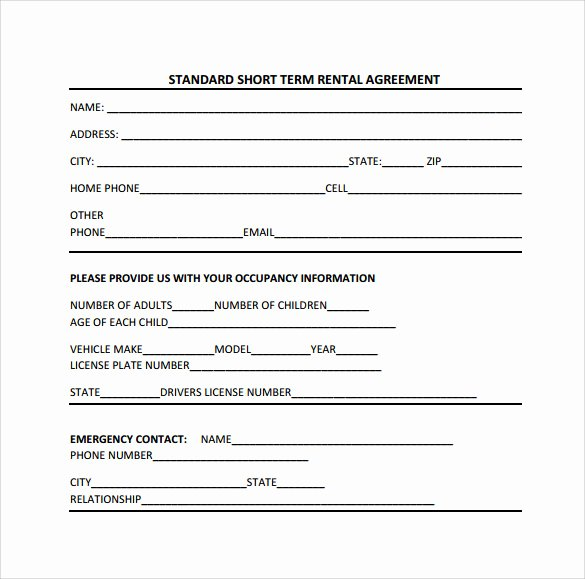 Short Term Rental Agreement Template Awesome Sample Short Term Rental Agreement 9 Free Documents In
