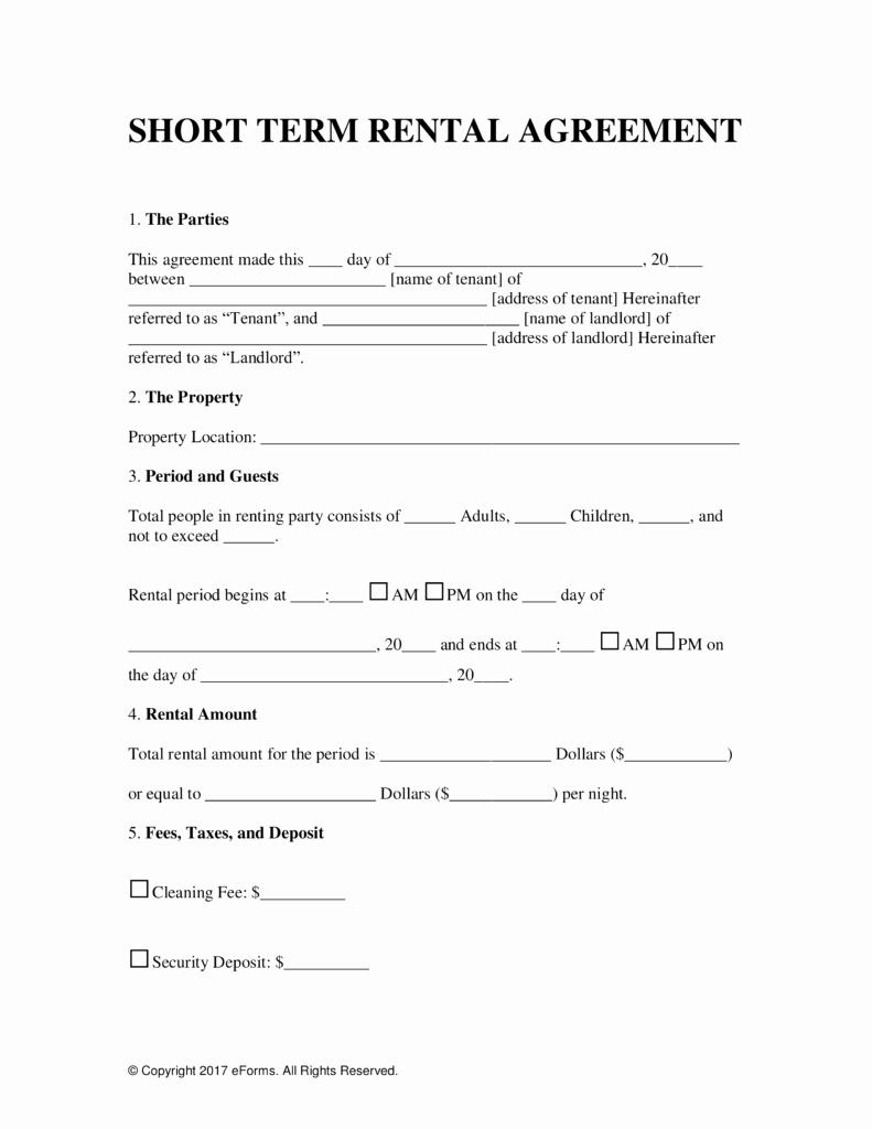 Short Term Rental Agreement Template Best Of Free Vacation Short Term Rental Lease Agreement Word