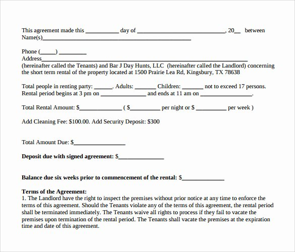Short Term Rental Agreement Template Elegant Sample Short Term Rental Agreement 8 Free Documents In