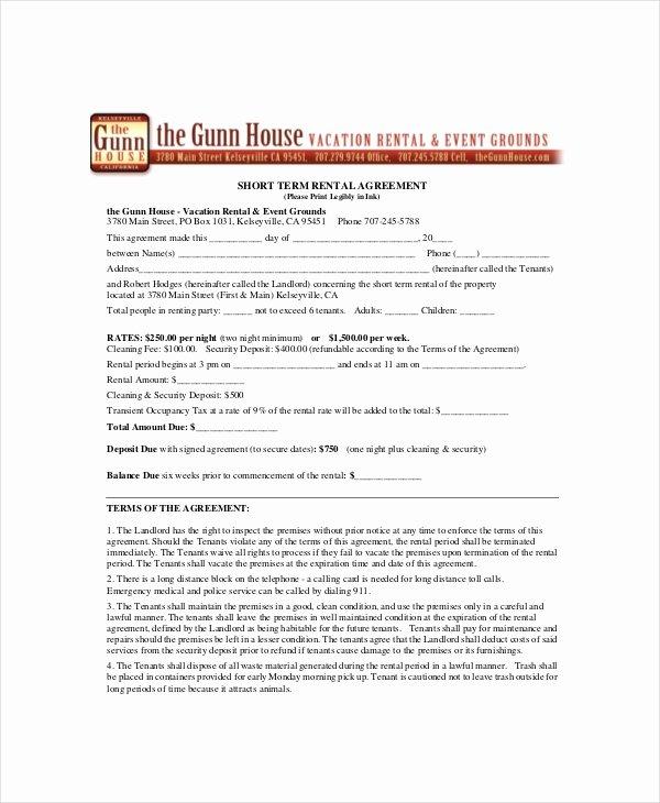 Short Term Rental Agreement Template Inspirational 19 Rental Agreement Templates Free Word Pdf format