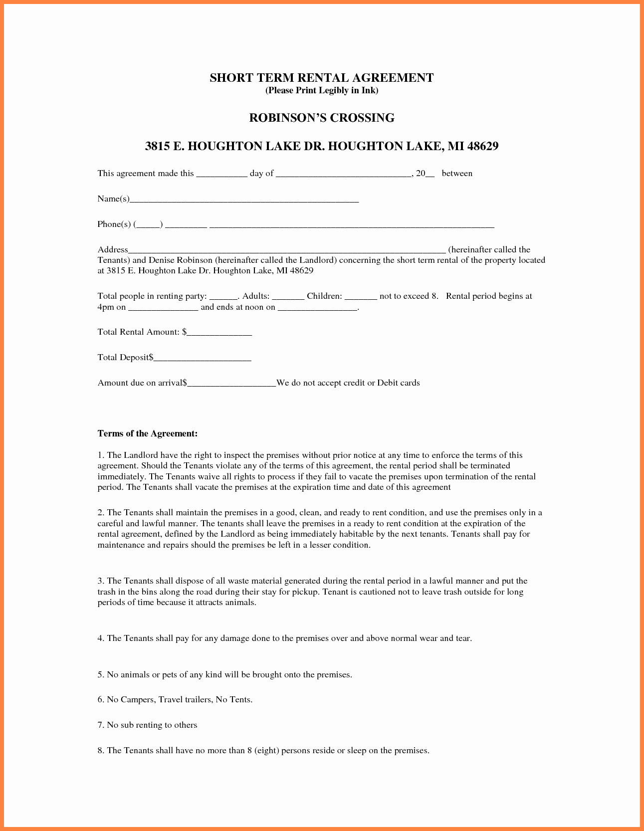 Short Term Rental Agreement Template Lovely 5 Sample Lease Agreement for Renting A House
