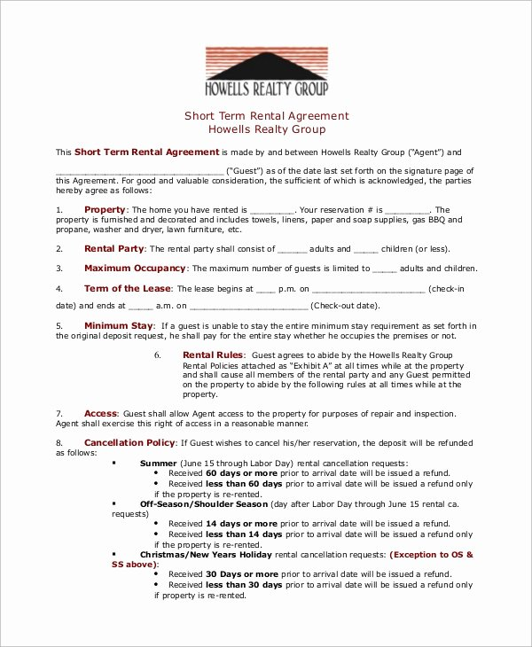 Short Term Rental Agreement Template Luxury Sample Rental Agreement 8 Examples In Pdf