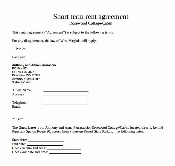 Short Term Rental Agreement Template Luxury Sample Short Term Rental Agreement 9 Free Documents In