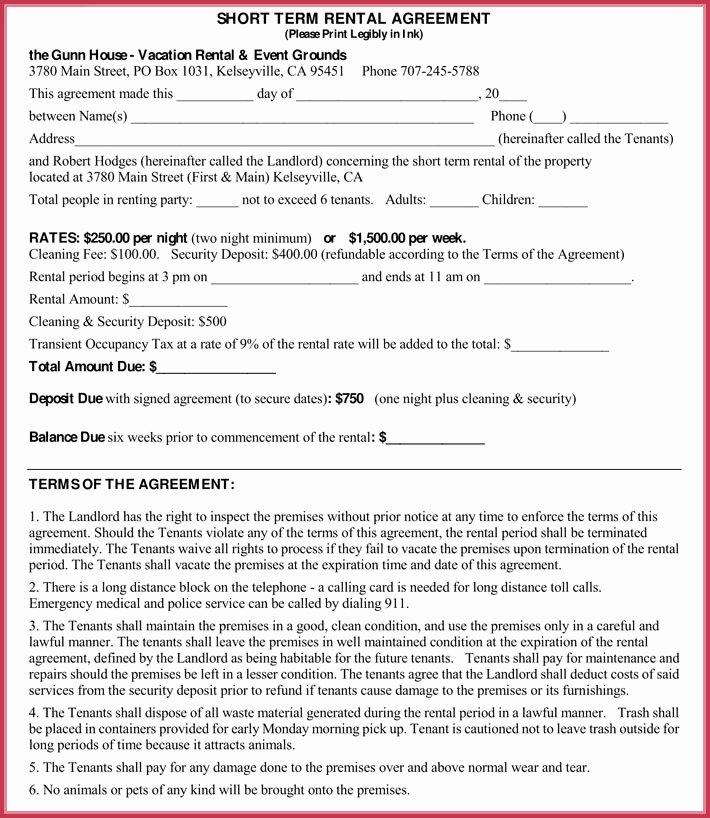 Short Term Rental Agreement Template Luxury Short Term Rental Agreement Samples forms & Writing Tips