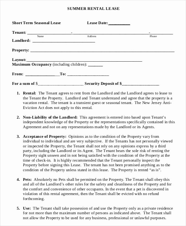 Short Term Rental Agreement Template Luxury Summer Short Term Rental Lease Agreement Example Template