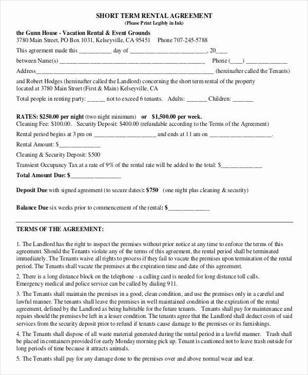 Short Term Rental Agreement Template New Short Term Rental Agreement 12 Free Word Pdf Documents