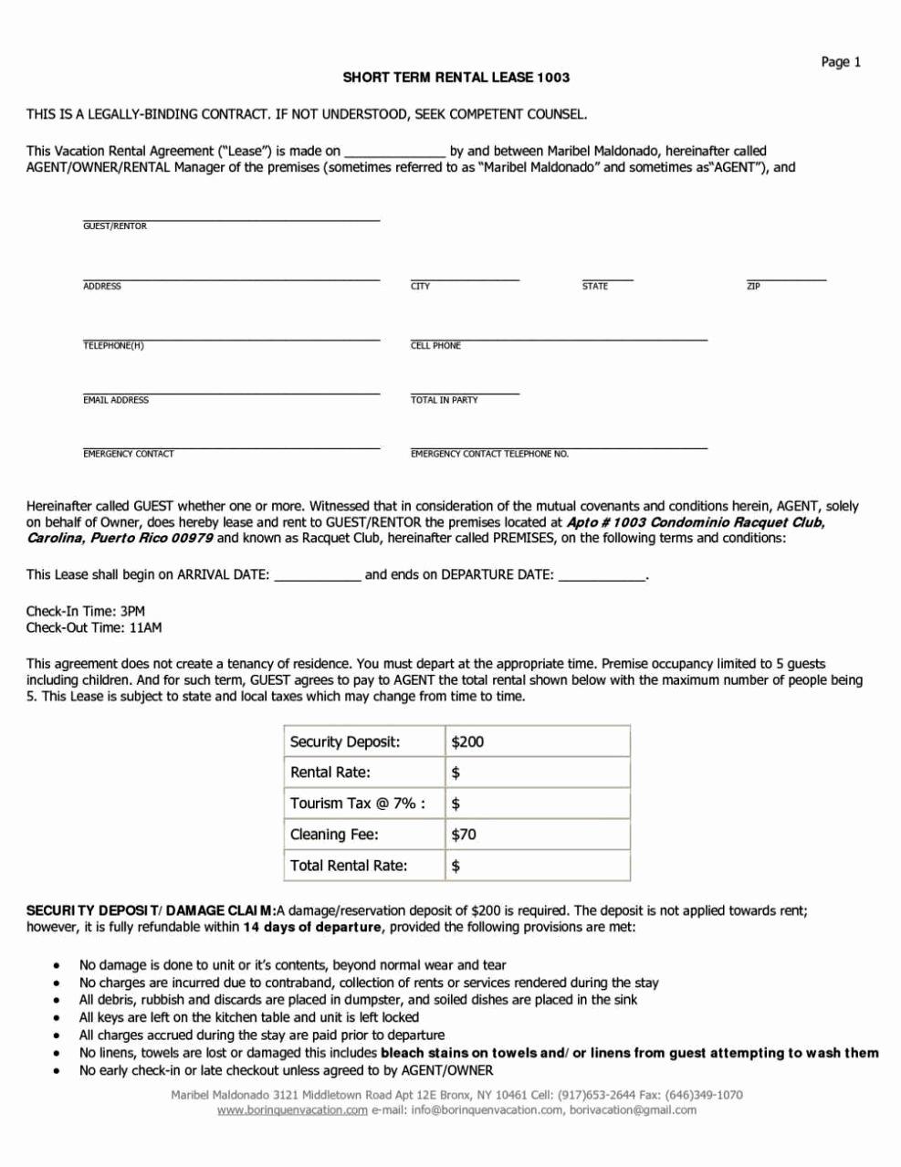 short term rental agreement template