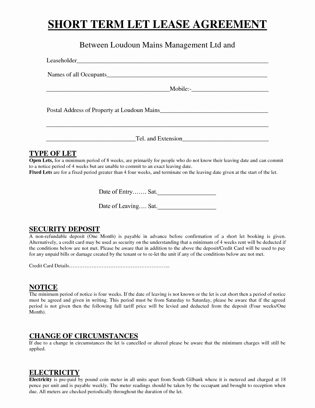Short Term Rental Agreement Template Unique Short Term Rental Lease Agreement