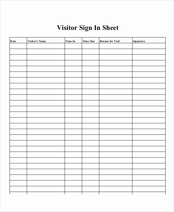 Sign In Out Sheet Template Fresh Sample Printable Sign In Sheet 15 Examples In Word Pdf