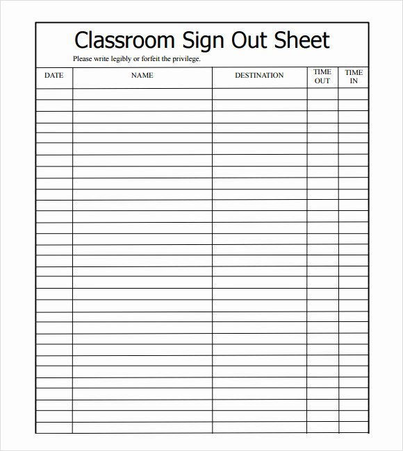 Sign In Sheet Template Excel Best Of Sample Sign Out Sheet Template 8 Free Documents