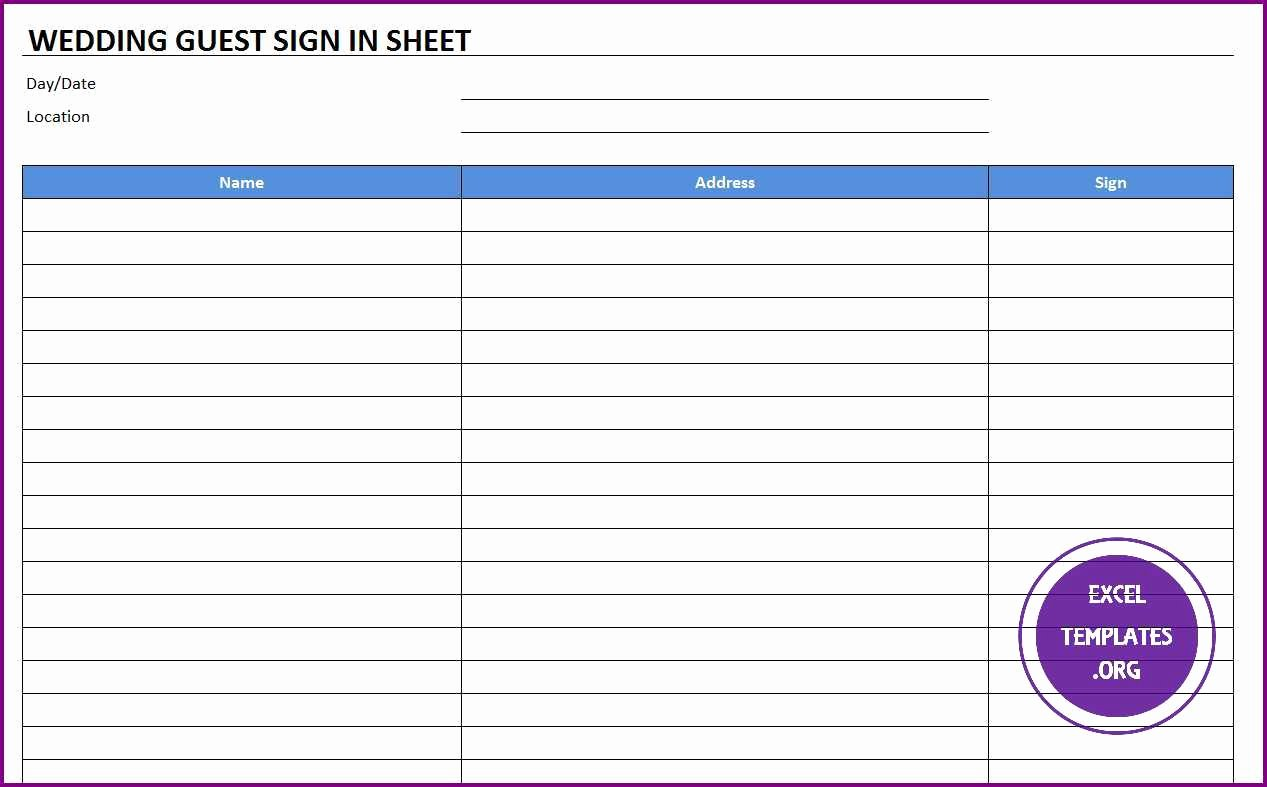 Sign In Sheet Template Excel Best Of Wedding Guest Sign In Sheet Template