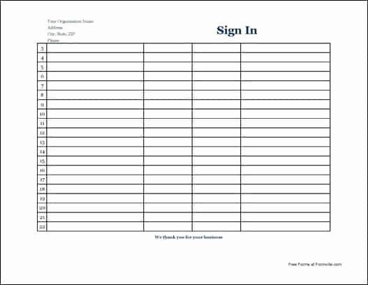 Sign In Sheet Template Excel Unique 7 Free Sign In Sheet Templates Word Excel Pdf formats