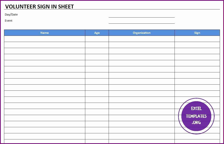 Sign In Sheet Template Excel Unique Volunteer Sign In Sheet Template Excel Templates