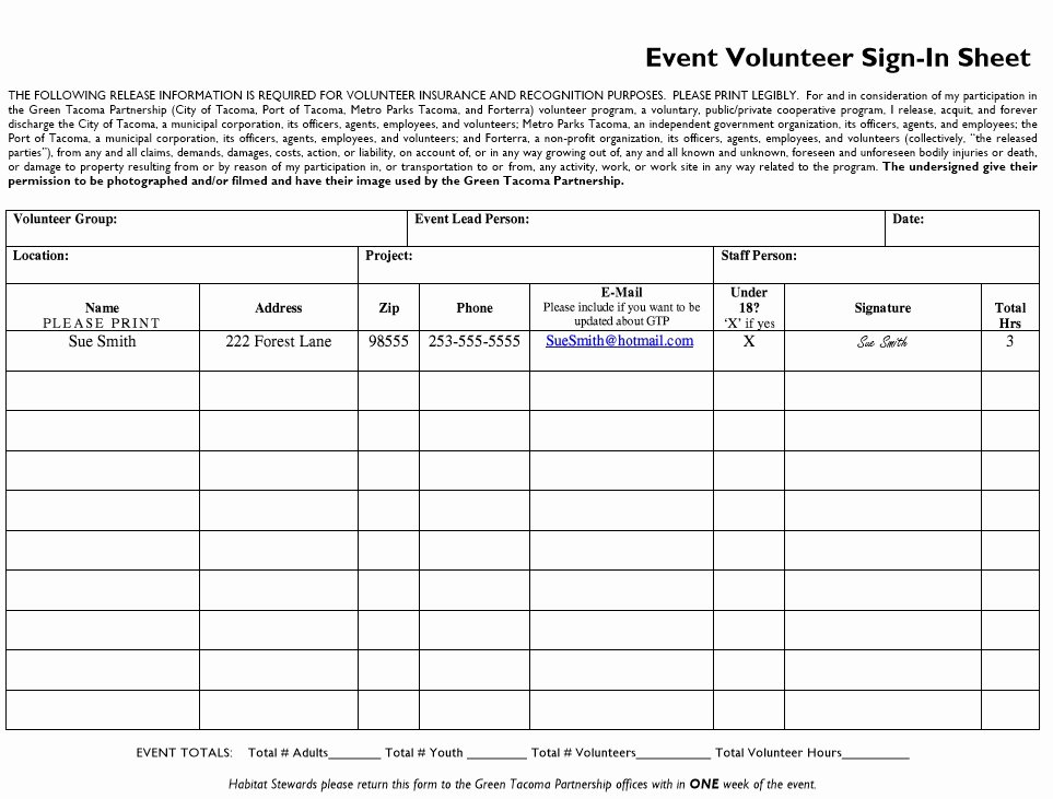 Sign In Sheet Template Pdf Elegant 10 Free Sample Volunteer Sign In Sheet Templates