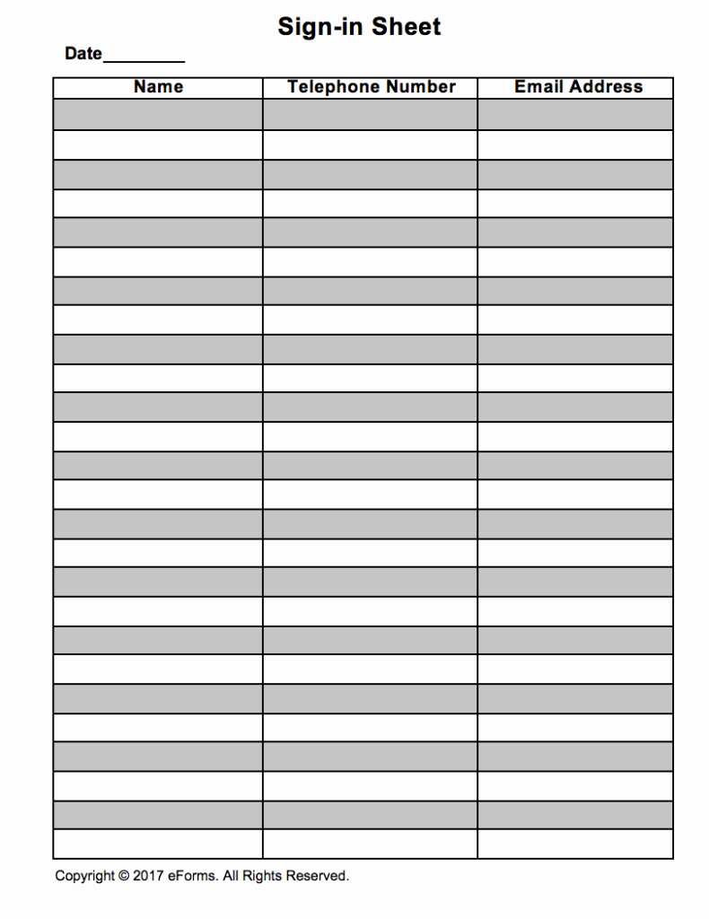 Sign In Sheet Template Pdf Unique attendance Guest Sign In Sheet Template