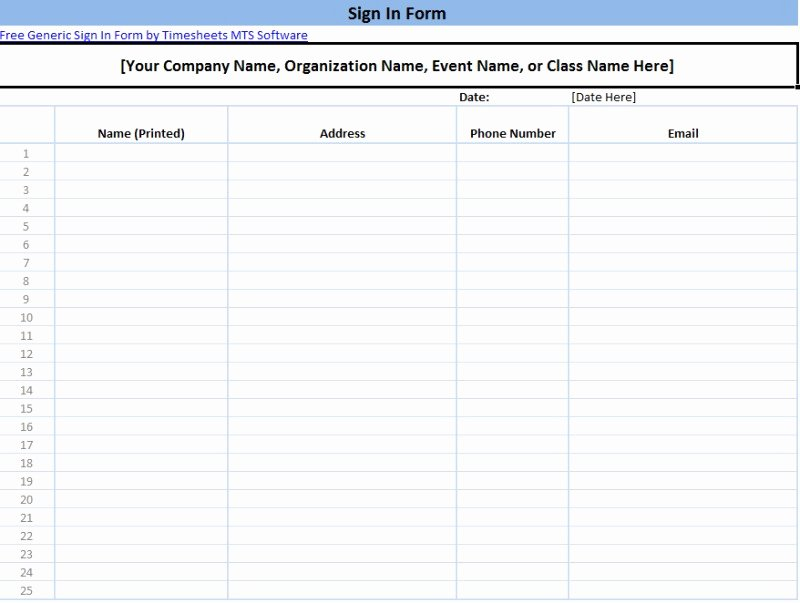 Sign In Sheets Template Awesome Printable Sign In Sheet Templates