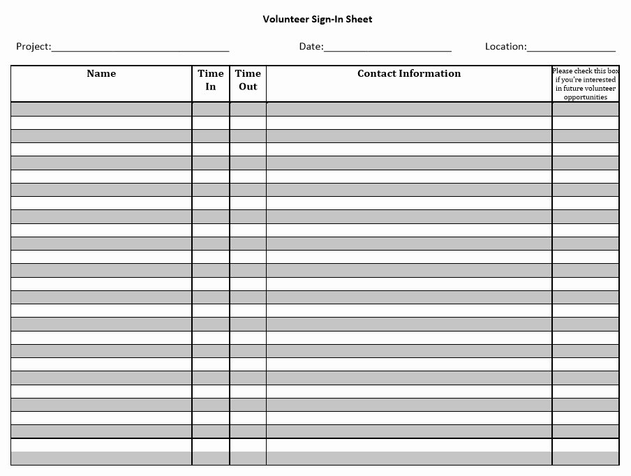 Sign In Sheets Template Inspirational 10 Free Sample Volunteer Sign In Sheet Templates