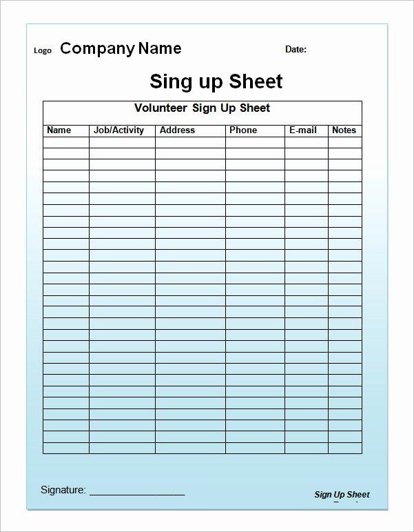 Sign Up Sheet Template Excel Elegant 27 Sample Sign Up Sheet Templates Pdf Word Pages Excel